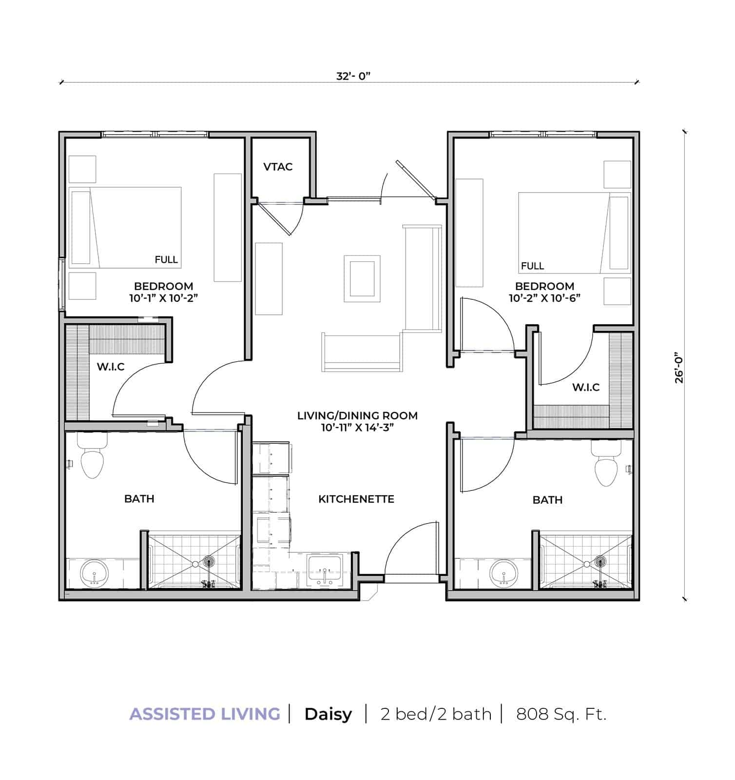 Assisted living Daisy two-bedroom two-bathroom apartment floor plan