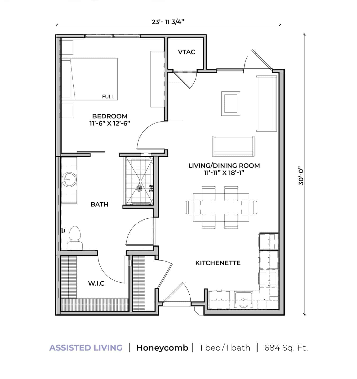 Assisted living Honeycomb one-bedroom one-bathroom apartment floor plan