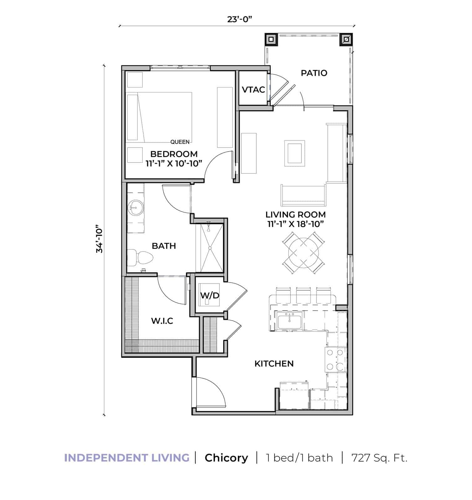 Independent living Chicory one-bedroom one-bathroom apartment floor plan