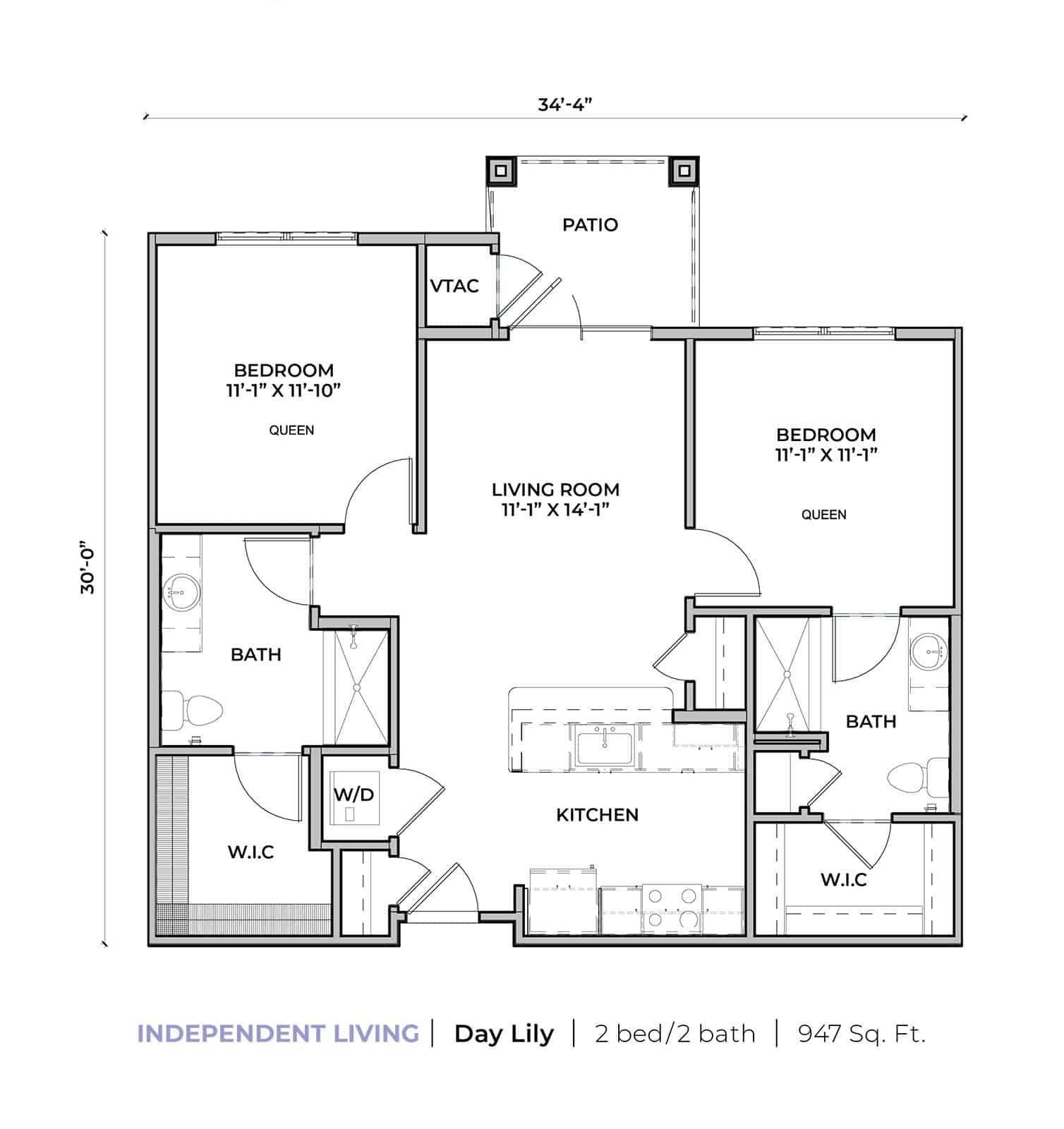 Independent living Day Lily two-bedroom two-bathroom apartment floor plan